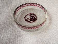 UNUSUAL OLD SMALL ETCHED GLASS DISH DEEP RED WITH ORIENTAL DETAILED DESIGN
